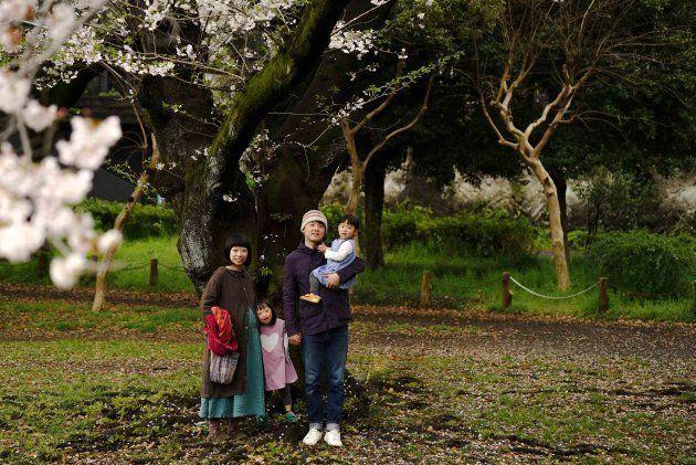3人目の女性がお腹にいる家族。大きな樹があって、桜が咲いて、家族が立てば、他に一体何がいるでしょうか。