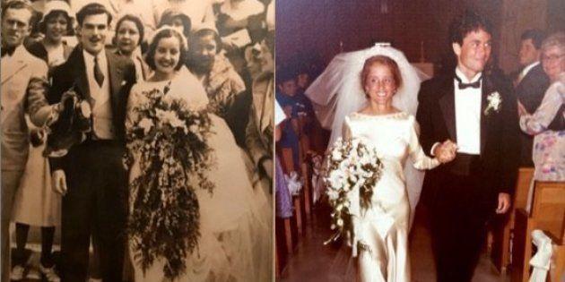 曾祖母からひ孫へ、4人の女性たちは同じウェディングドレスを受け継いできた