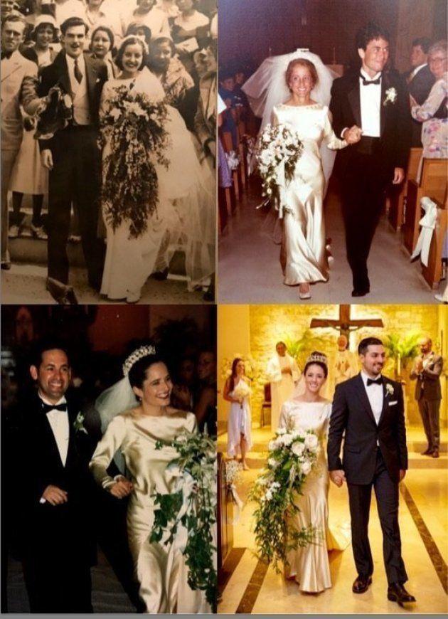 マータさんが娘の結婚式で作ったポスター。これまでにウェディングドレスを着た4人の女性がうつっている。