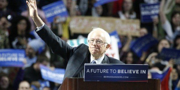 PHILADELPHIA, PA - APRIL 6 : Bernie Sanders pictured speaking at a rally at the Liacoris Center at Temple...