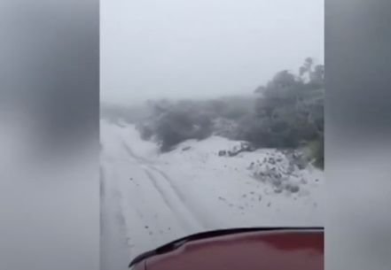 This may be the first time the Maui state park has seen snow.