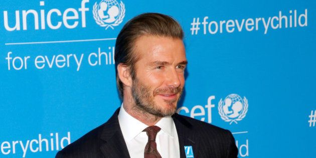David Beckham attends the UNICEF 70th anniversary event at the United Nations Headquarters in Manhattan,...