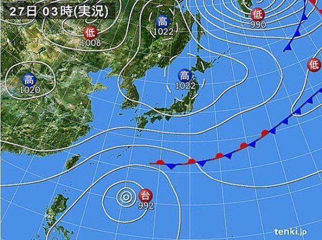 きょう27日も、広い範囲で秋晴れが続くでしょう。ただ、台風22号周辺の発達した雨雲が、次第に沖縄にかかる見込みです。
