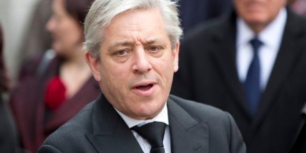 Speaker of the House of Commons John Bercow leaves the funeral of British Labour politician Tony Benn...