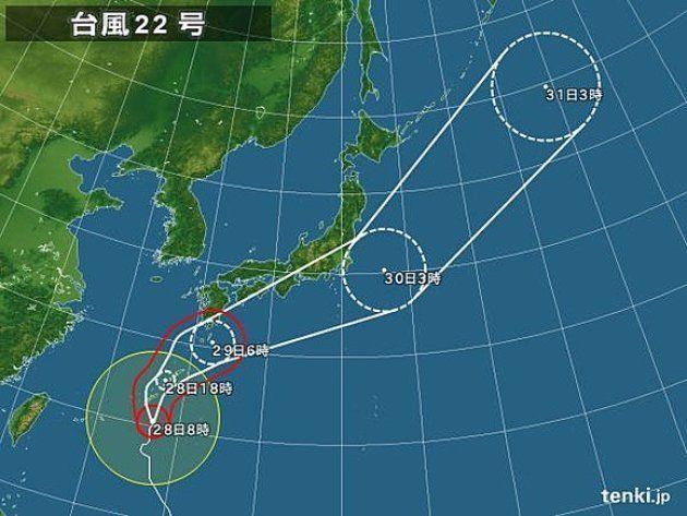 【台風22号】沖縄が暴風域に 最大瞬間風速44.2メートルを観測