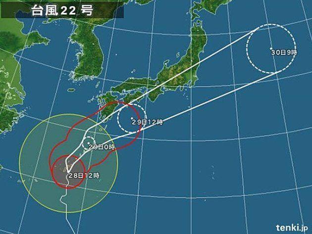 【台風22号】奄美地方の一部が暴風域に