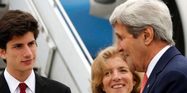 US Ambassador to Japan Caroline Kennedy (C) and her son Jack Schlossberg (L) greet US Secretary of State...
