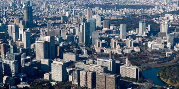 Japan, Kanto Region, Tokyo Prefecture, Chiyoda Ward, Aerial view of Kasumigaseki. (Photo by: JTB Photo/UIG...