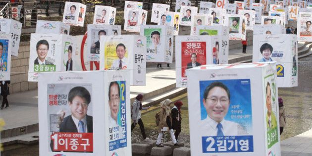 Election posters of 376 candidates for Seoul's constituencies in the April 13 general elections are hung...