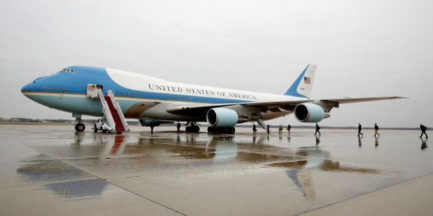 Journalists board Air Force One at Joint Base Andrews in Maryland U.S. December 6, 2016, on the morning...