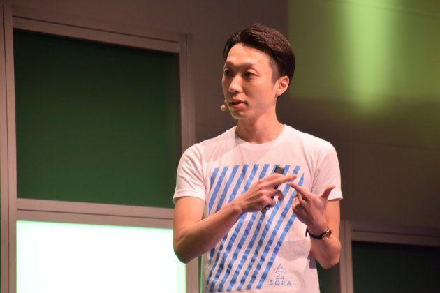スタートアップバトルで優勝した株式会社空CEOの松村さん