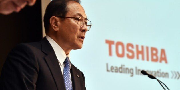 Japan's troubled electronics giant Toshiba president Masashi Muromachi announces the new management of...