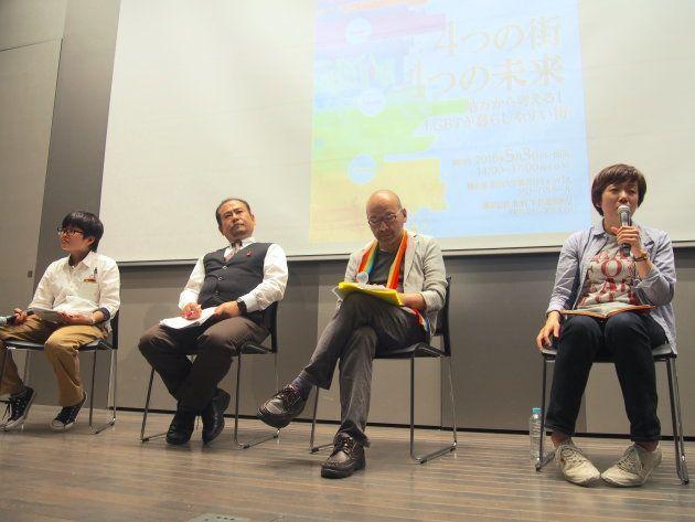 後半のパネルディスカッション。モデレーターはやっぱ愛ダホ!idaho-net.代表の遠藤まめたさん(写真左)