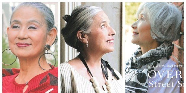 60歳以上のファッションスナップに登場する女性たちは、多くがグレイヘアだった