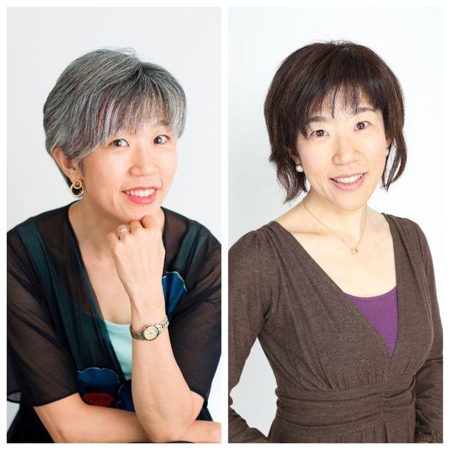 白髪育てが完成した朝倉真弓さん(左)と、髪の毛を染めていたころの朝倉さん