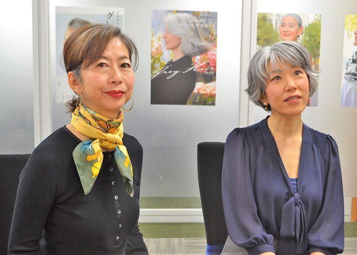 依田邦代さん(左)と朝倉真弓さん=東京都文京区