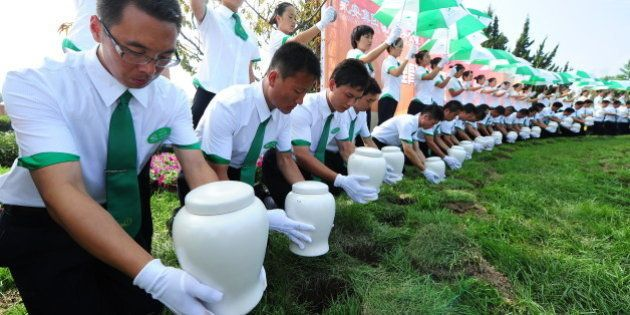 Attendants place biodegradable urns in their respective hole in the ground during a procession at a cemetery...