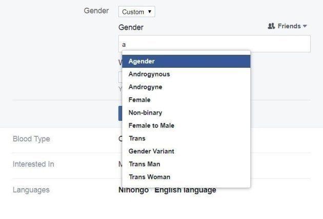 Facebookの性別選択欄