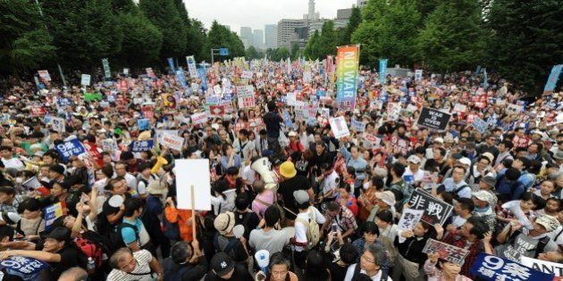 TOKYO, JAPAN - AUGUST 30 : People take part a major protest labeled as a nationwide movement for 1 million...