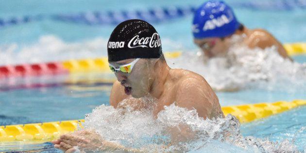 TOKYO, JAPAN - APRIL 04: Kosuke Kitajima of Japan competes in the Men's 100m Breaststroke semi finals...