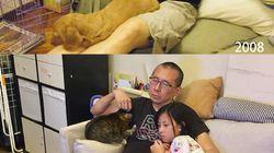 パパと娘とニャンコとワンコ。10年経っても変わらない家族写真に秘められた思い