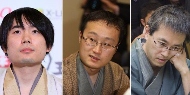 (左から)佐藤天彦名人、渡辺明竜王、羽生善治棋聖