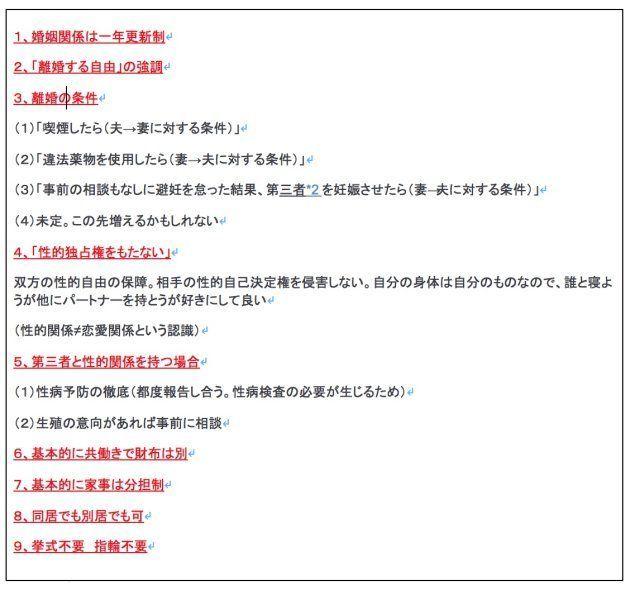 2人の契約結婚の内容(長谷川さんのブログより一部抜粋)