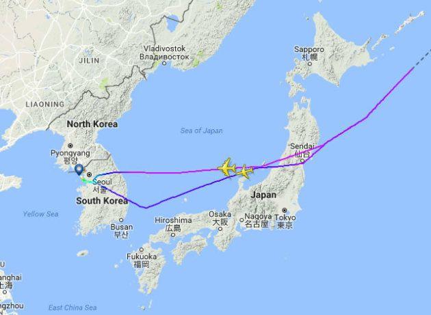 北朝鮮ミサイルと見られる飛翔体を目撃した旅客機は、報告時に能登半島北部を飛行していた