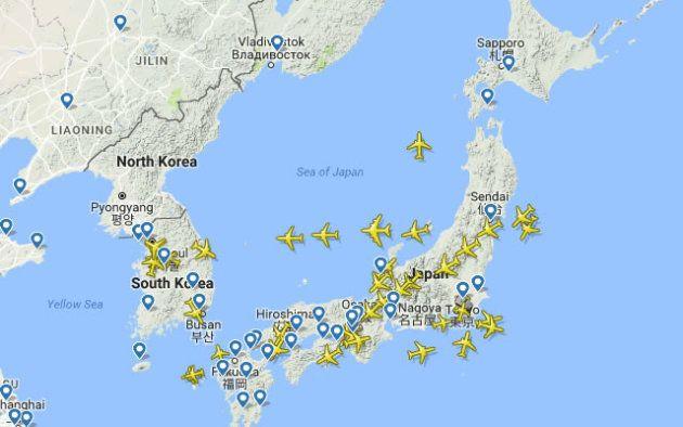 北朝鮮ミサイルが落下した頃に飛んでいた飛行機