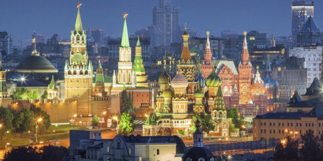 Night view of the Moscow Kremlin, Red Square and St. Basil's Cathedral from the residential house