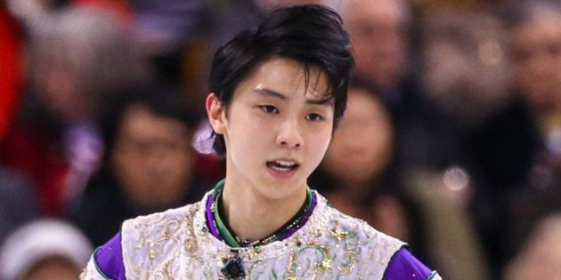 BOSTON, MA - APRIL 1: Yuzuru Hanyu of Japan reacts after competing during Day 5 of the ISU World Figure...