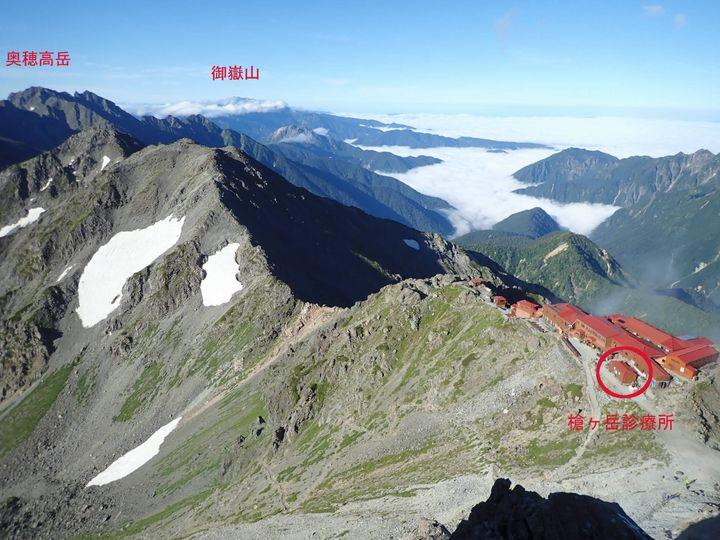 槍ヶ岳山頂からの眺望(南)