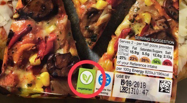 冷凍食品のピザに「vegetarian」のマーク