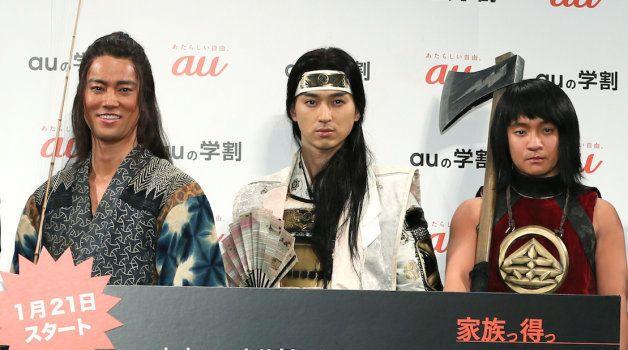 auのCMで三太郎を演じた、左から桐谷健太、松田翔太、濱田岳
