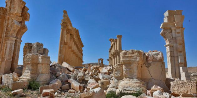 In this picture taken Friday, April 1, 2016, damage is seen in the ancient city of Palmyra in the central...