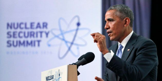 President Barack Obama speaks during a news conference at the Nuclear Security Summit, Friday, April...