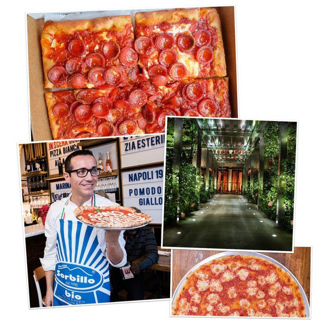 (上から時計回りに)「プリンスストリート・ピザ」のスクエアスライス、「パブリック」「ルビローサ」「ソルビッロ」