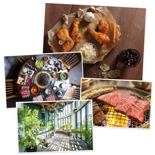 「ボンチョン」の定番フライドチキン(上)、「カンホードン・ペクチョン」の焼肉用テーブル(中央、右)、「メイド・ホテル」(下)