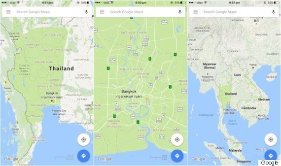 バンコク全域が公園になっちゃった?Googleマップのエラー
