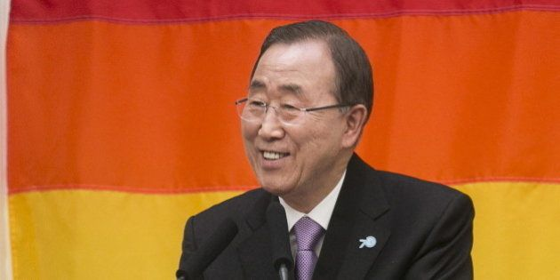 United Nations Secretary-General Ban Ki-moon speaks about the worldwide fight for LGBT equality after...