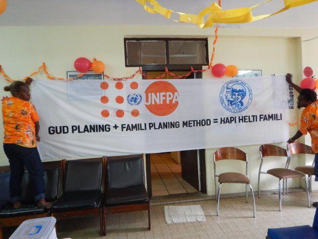 クリニックでのイベント時に作成した啓発用バナー。 Good Planning + Family Planning Method = Happy Healthy