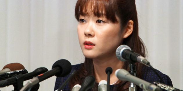 Haruko Obokata, a researcher at Riken research institution, speaks during a news conference in Osaka,...