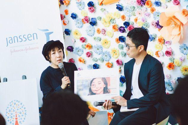 「見た目問題」を解く、NPO法人マイフェイス・マイスタイル代表 外川浩子さん(左)と、『顔ニモマケズ』を上梓した作家の水野敬也さん(右)