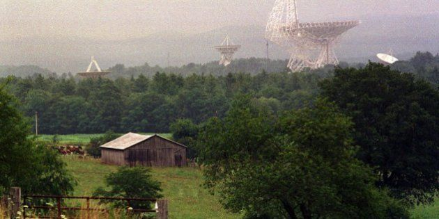 TO GO WITH STORY TITLED RADIO TELESCOPE--The Robert C. Byrd Telescope and its smaller companions at the...