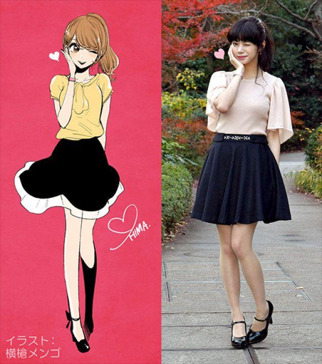 左が「暇な女子大生」のプロフィールに使われているイラスト、右が池田エライザ演じる「暇な女子大生」。かわいい...。