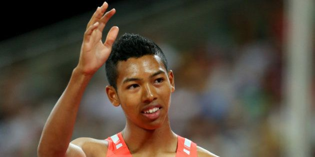 BEIJING, CHINA - AUGUST 25: Abdul Hakim Sani Brown of Japan reacts after competing in the Men's 200 metres...