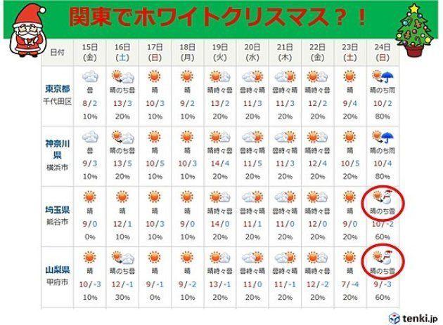 今年は関東でホワイトクリスマス?