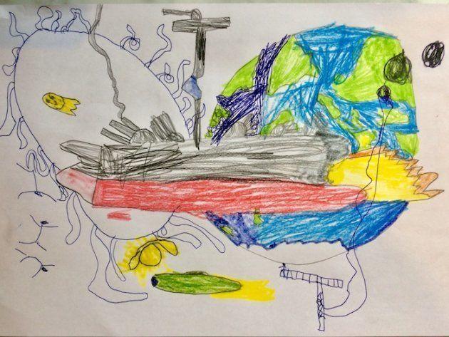 次男作、宇宙戦艦ヤマトにインスパイアされた絵