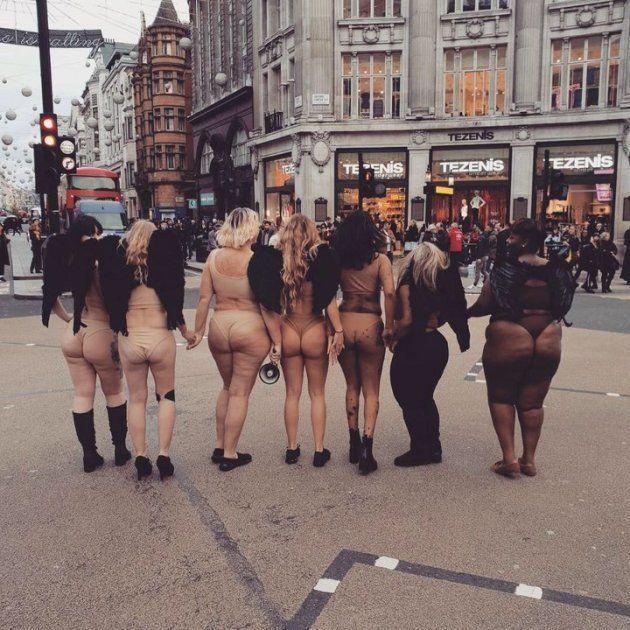 どんな体も美しい。ヌードカラーの下着を身につけ、7人の女性がヴィクトリアズ・シークレットに抗議