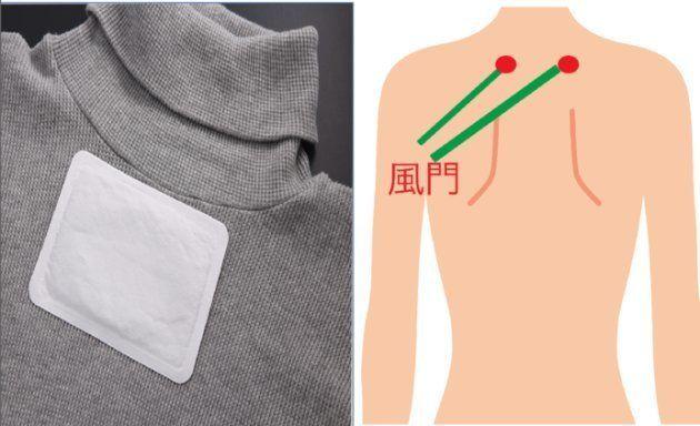 肌に直接ではなく洋服の上から貼りましょう(左)。体を温めるツボ「風門」(右)